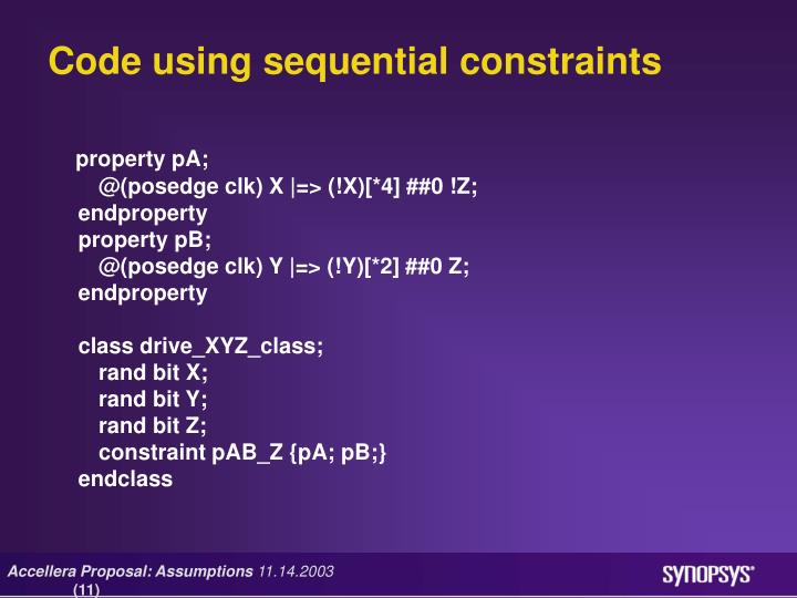 Code using sequential constraints