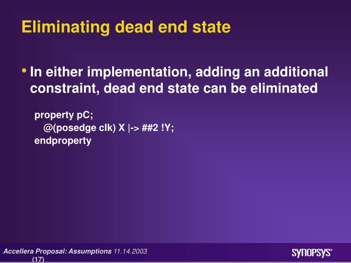 Eliminating dead end state