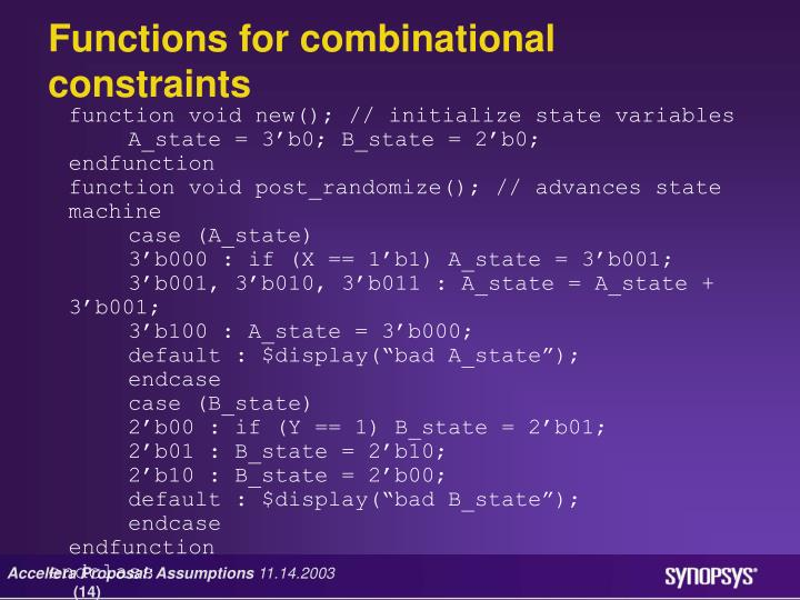 Functions for combinational constraints
