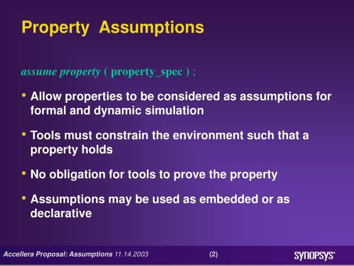 Property  Assumptions