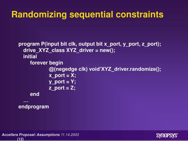Randomizing sequential constraints
