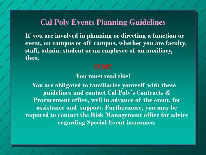 Cal Poly Events Planning Guidelines