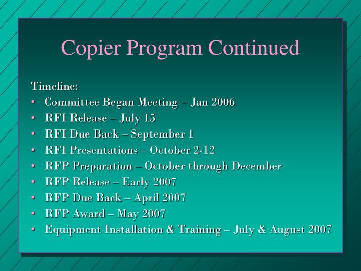 Copier Program Continued