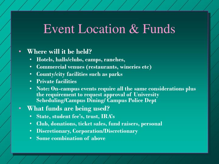 Event Location & Funds