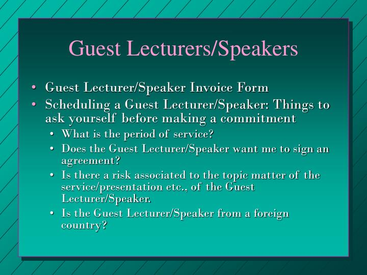 Guest Lecturers/Speakers