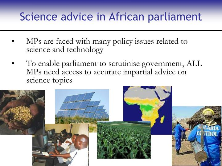 Science advice in African parliament