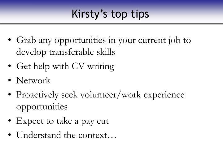 Kirsty's top tips