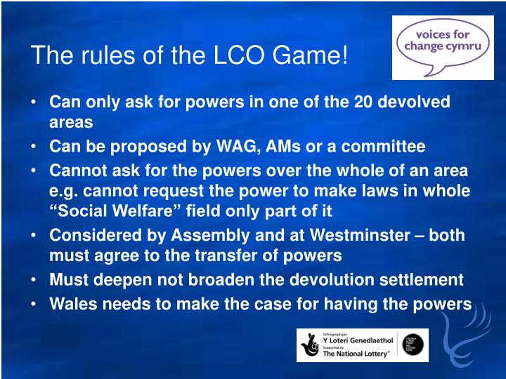 The rules of the LCO Game!