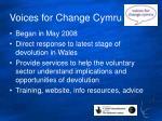 voices for change cymru