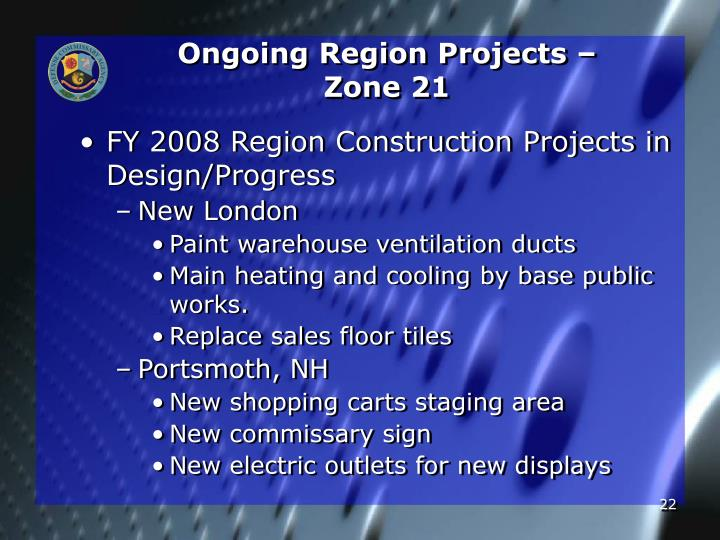 Ongoing Region Projects –