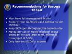 recommendations for success of sco