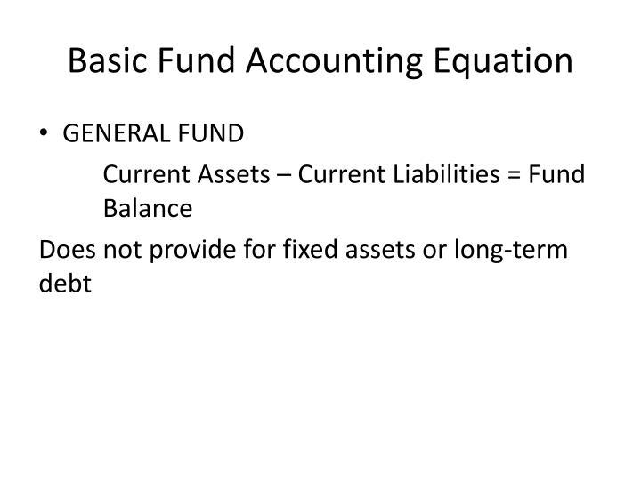 Basic Fund Accounting Equation