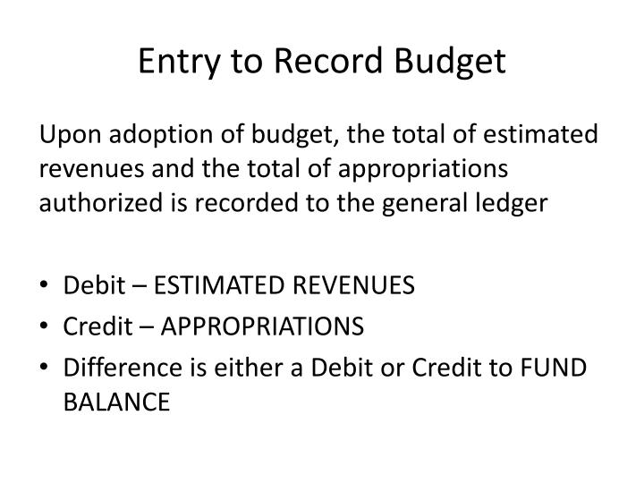Entry to Record Budget