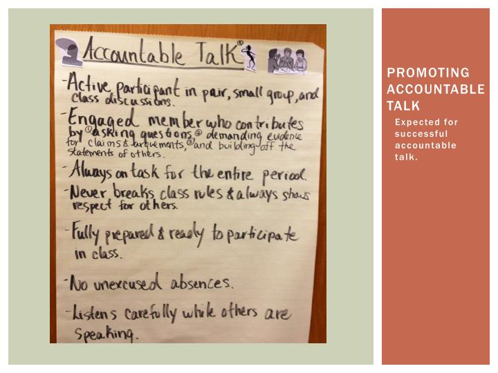 Promoting accountable talk