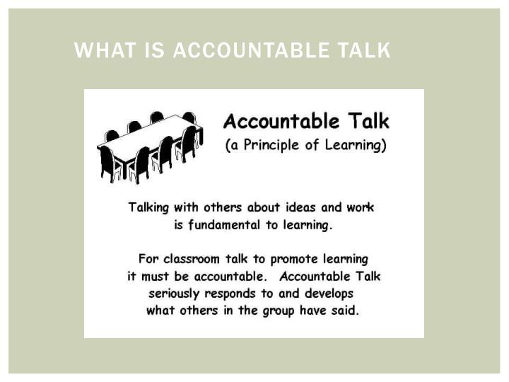 What is accountable talk
