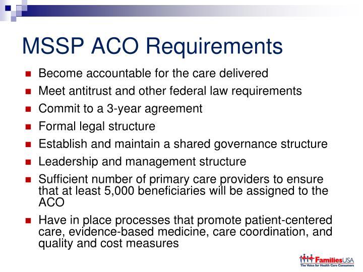 MSSP ACO Requirements