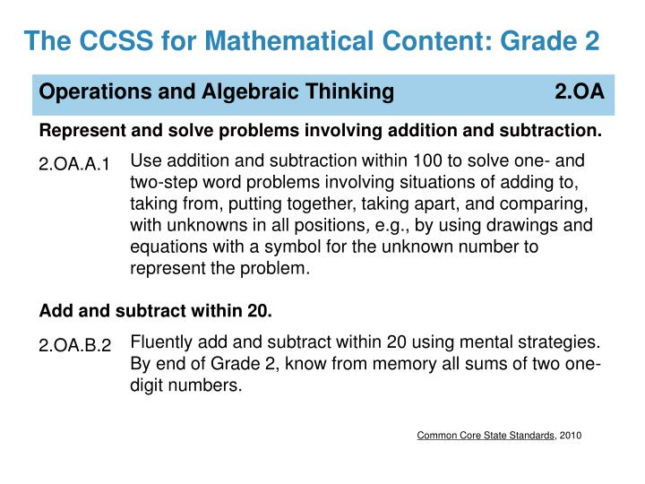 The CCSS for Mathematical Content: Grade 2