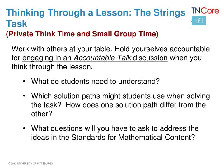 Thinking Through a Lesson: The Strings Task