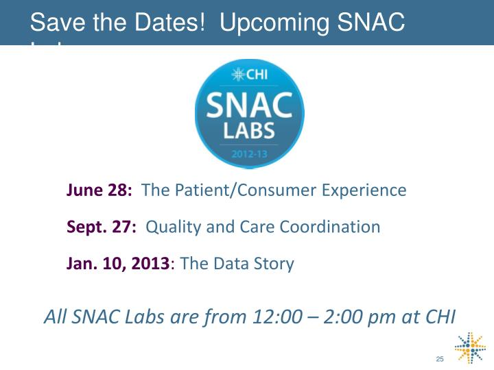 Save the Dates!  Upcoming SNAC Labs