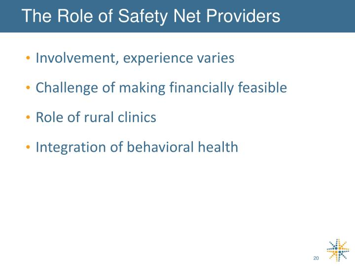 The Role of Safety Net Providers