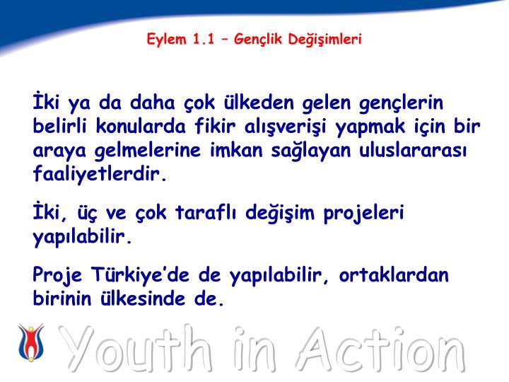 Eylem 1.1 – Gençlik Değişimleri