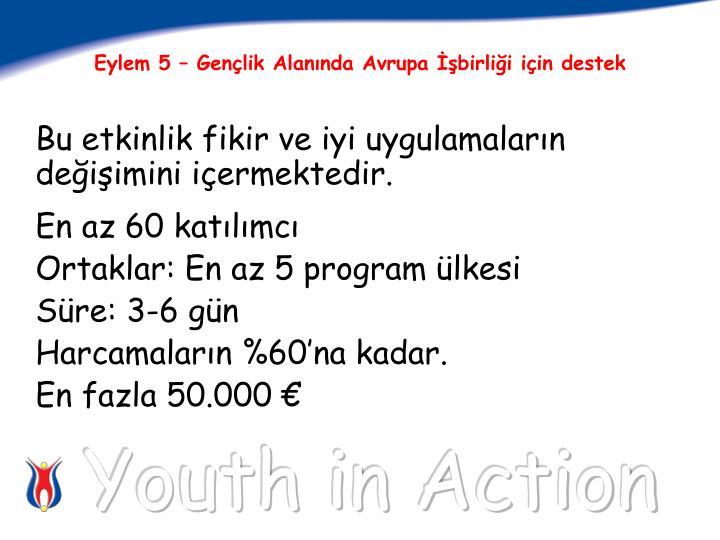 Eylem 5 – Gençlik Alanında Avrupa İşbirliği için destek