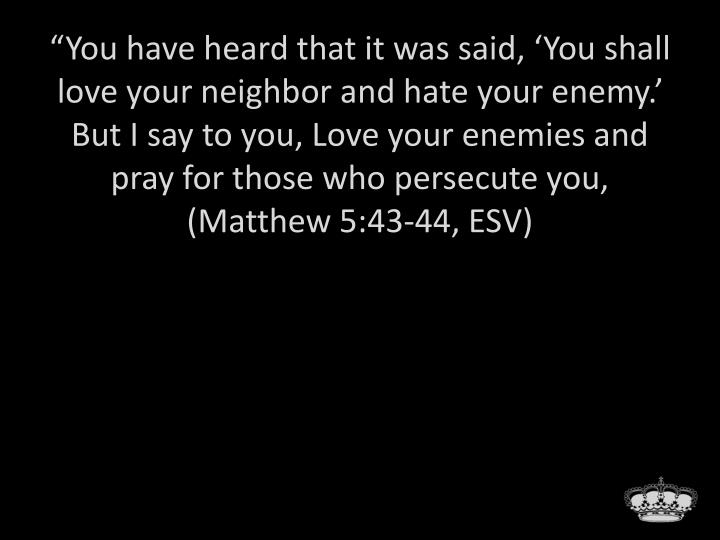"""""""You have heard that it was said, 'You shall love your neighbor and hate your enemy.' But I say to you, Love your enemies and pray for those who persecute you, (Matthew 5:43-44, ESV)"""