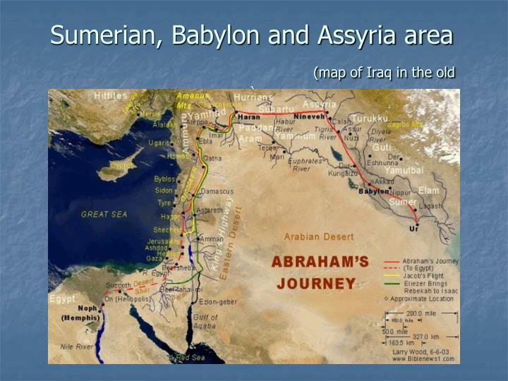 Sumerian babylon and assyria area map of iraq in the old era