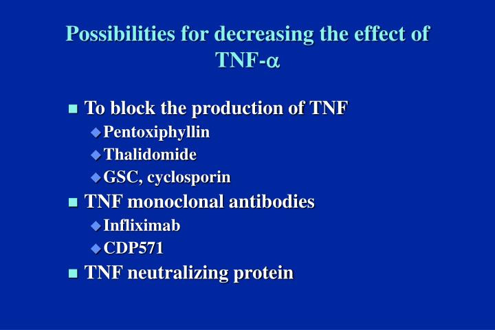 Possibilities for decreasing the effect of TNF-