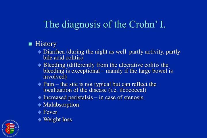 The diagnosis of the Crohn' I.