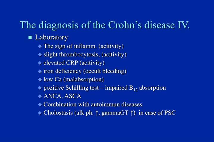 The diagnosis of the Crohn's disease IV.