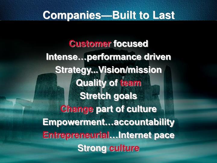 Companies—Built to Last