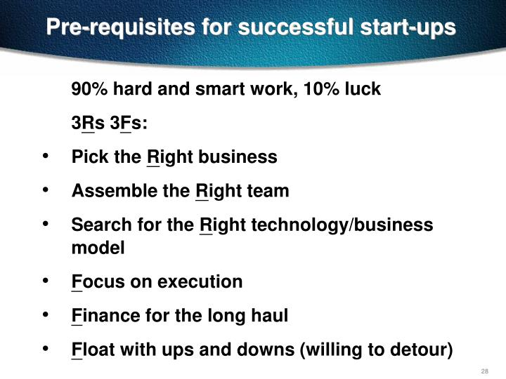 Pre-requisites for successful start-ups