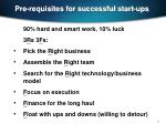 pre requisites for successful start ups