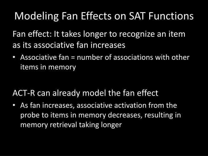 Modeling Fan Effects on SAT Functions