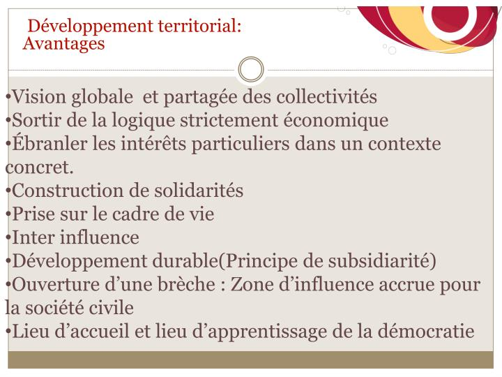 Développement territorial: