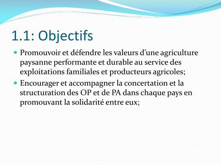 1.1: Objectifs