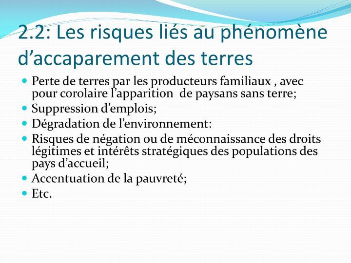 2.2: Les risques liés au phénomène  d'accaparement des terres