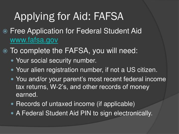 Applying for Aid: FAFSA