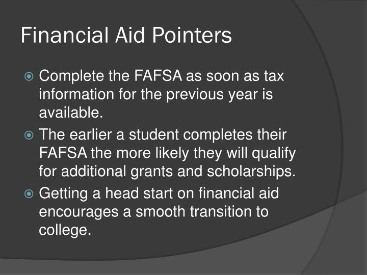 Financial Aid Pointers