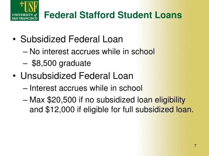 Federal Stafford Student Loans