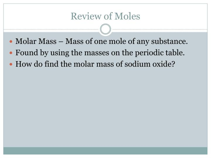 Review of Moles