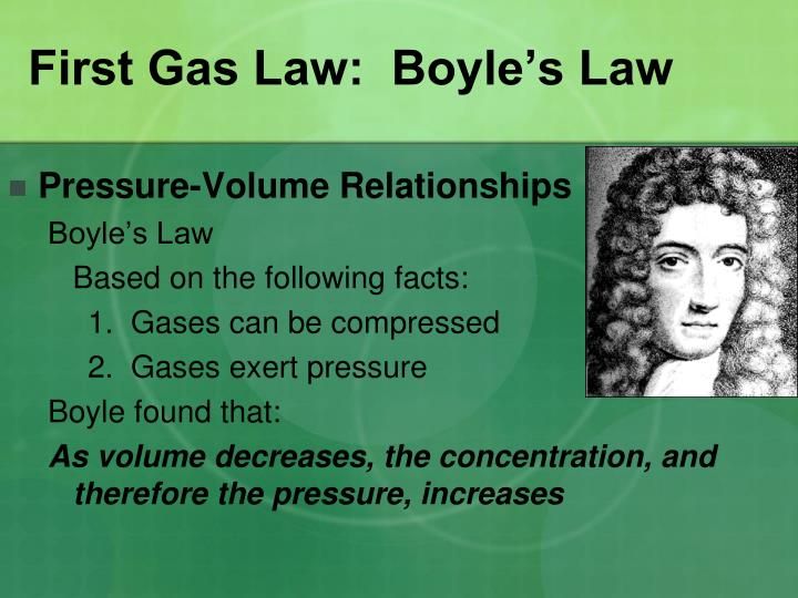 First Gas Law:  Boyle's Law