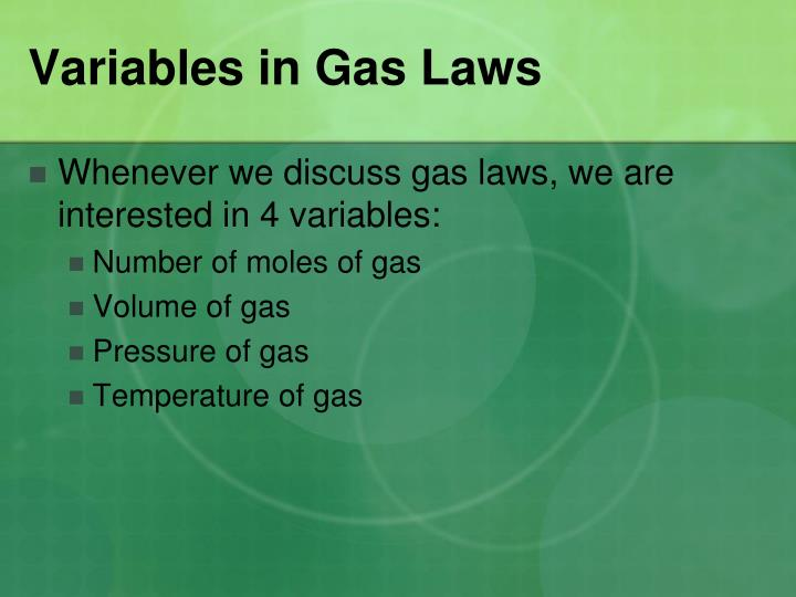 Variables in Gas Laws