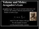 volume and moles avogadro s law