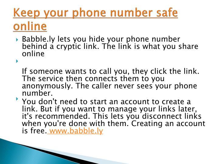 Keep your phone number safe online