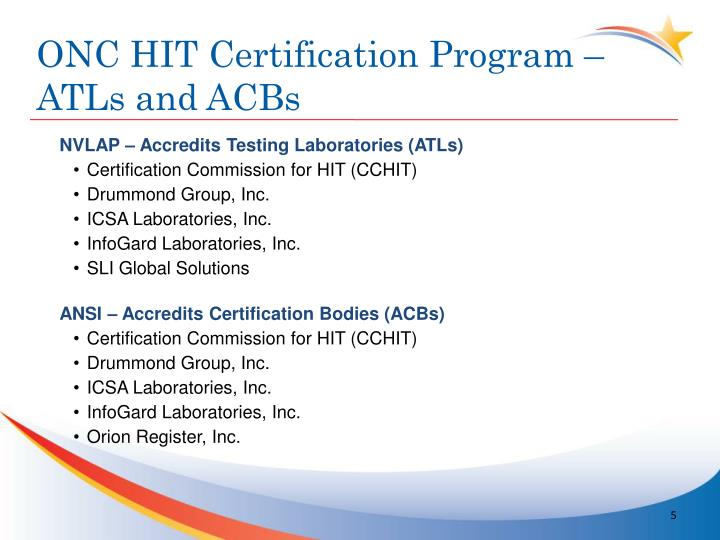 ONC HIT Certification Program –