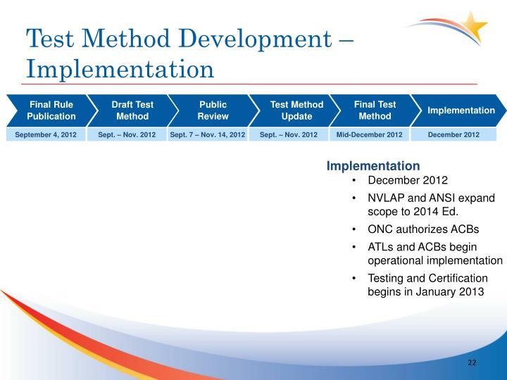 Test Method Development –