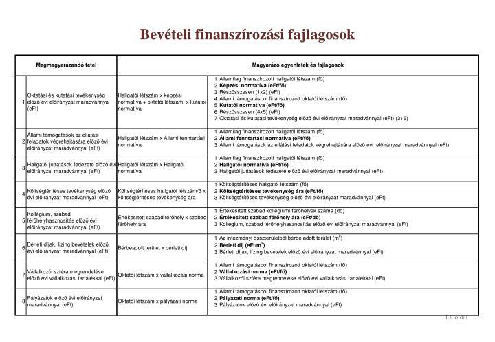 Bevételi finanszírozási fajlagosok