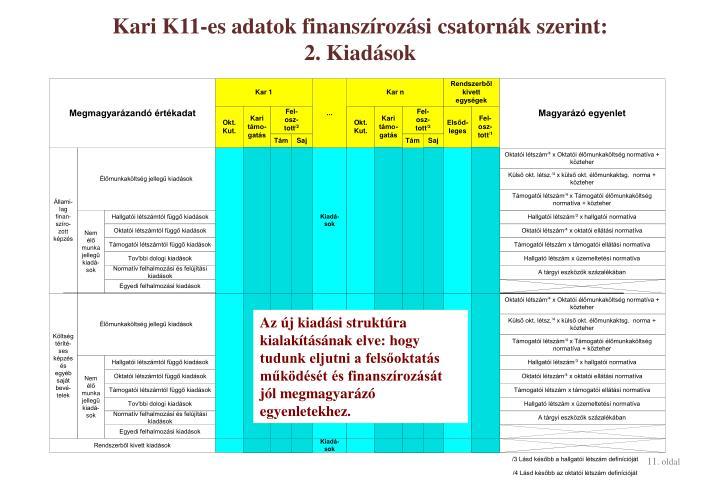 Kari K11-es adatok finanszírozási csatornák szerint: